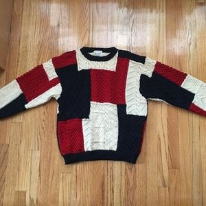 Vintage Patchwork Boro 100% pure wool knit sweater